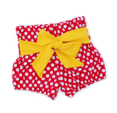 CLASSIC MINNIE MOUSE High Waisted Ruffle Shorts with Waist Sash