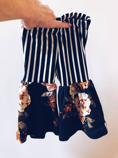 STRIPES + BLACK MUSTARD FLORAL Bell Bottom Flares