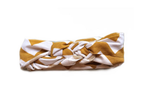Mustard Chevron Modern Braided Headband