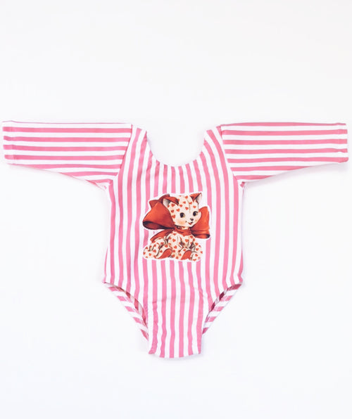 VINTAGE VALENTINE KITTY Pink & White Stripes Leotard