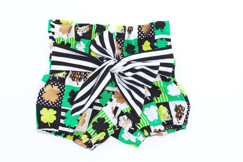 KISS ME I'M IRISH High Waisted Ruffle Shorts with Waist Sash