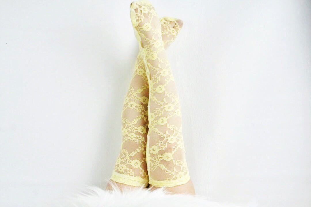 YELLOW LACE Knee High Socks