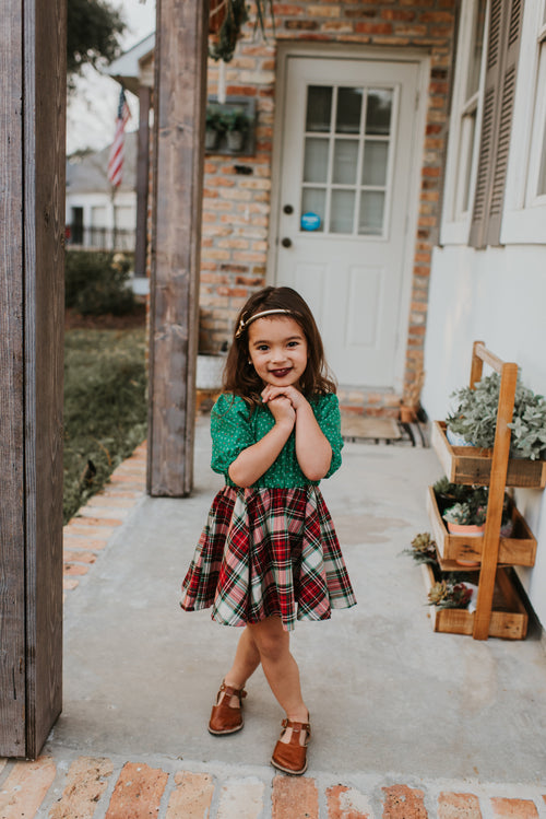 CHRISTMAS FLORAL + PLAID Shortie Dress