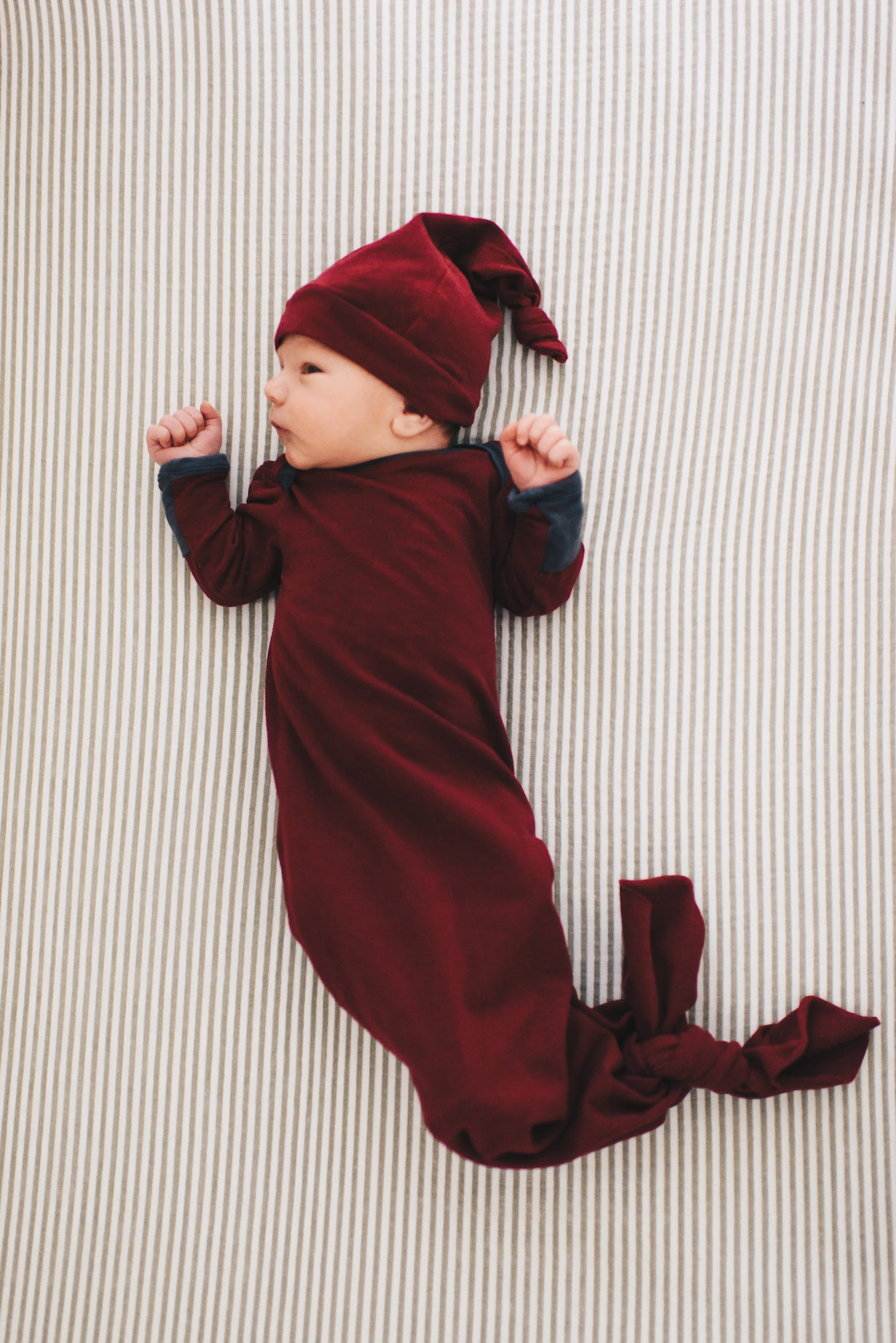 BURGUNDY & Gray Knotted Baby Gown & Hat Set