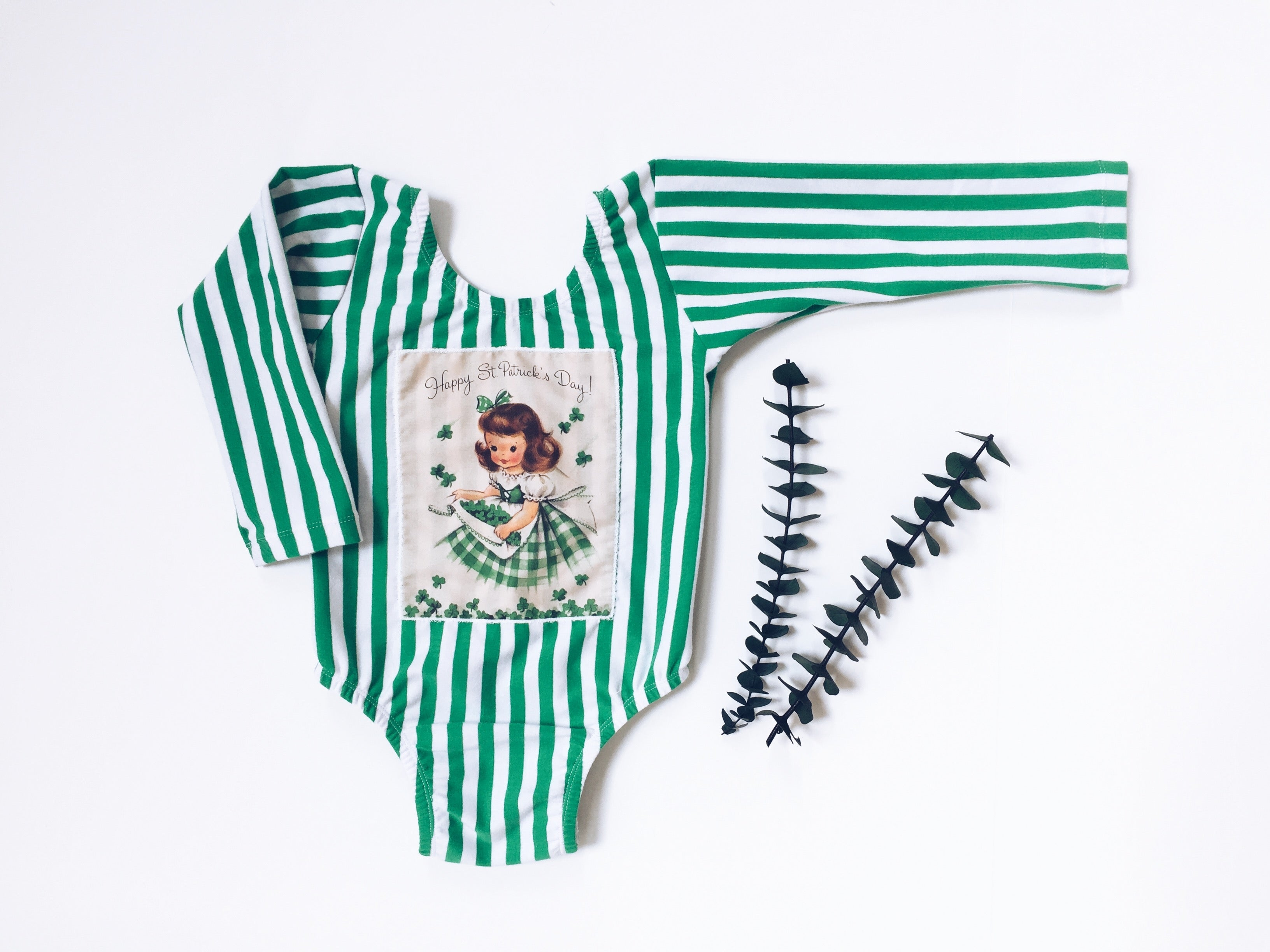 VINTAGE St. Patrick's Day Girl Green Stripe Leotard
