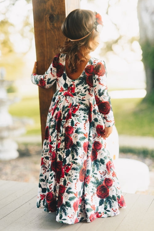 ENCHANTED CHRISTMAS FLORAL Maxi Twirl Dress