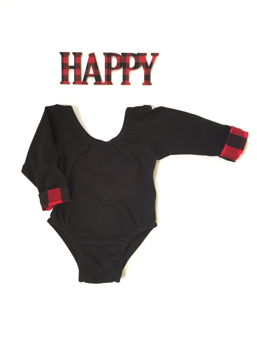 BLACK + BUFFALO PLAID Long Sleeve Leotard