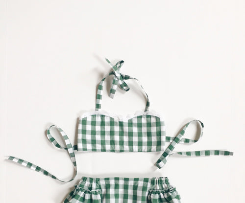 FERN GINGHAM Halter Crop Top