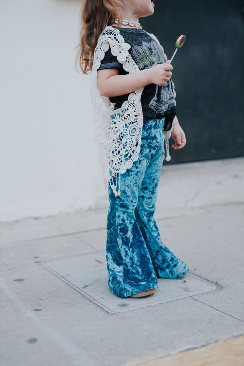 CRUSHED BLUE VELVET Bell Bottoms