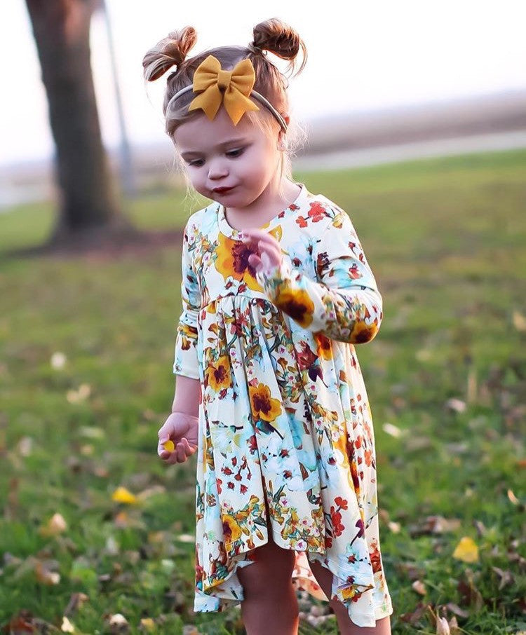 TECHNICOLOR FLORAL High Low Dress