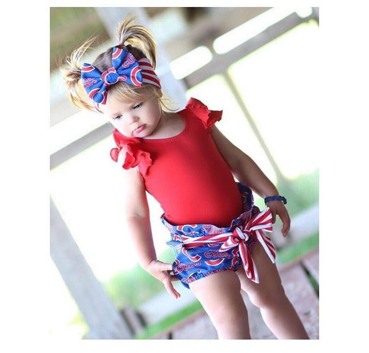 CHICAGO CUBS High Waisted Ruffle Shorts with Waist Sash