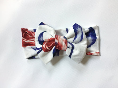 RED ROSES & BLUE LEAVES Classic Bow Headband