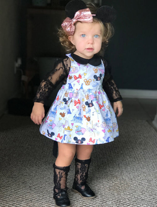 DISNEY DOODLE Tie Back Dress