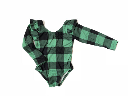 GREEN & BLACK BUFFALO PLAID Flutter Long Sleeve Leotard