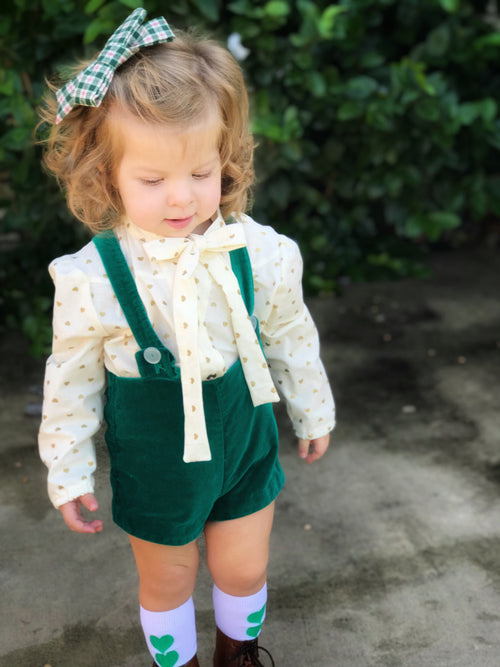 CREAM & GOLD HEARTS Bow Blouse
