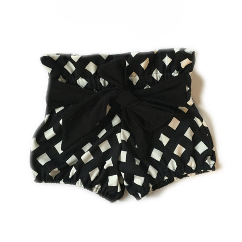 BLACK LATTICE High Waisted Ruffle Bow Shorts