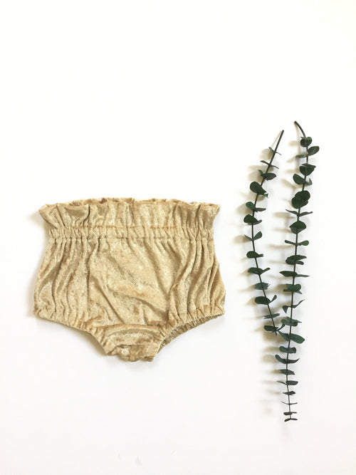 LIGHT GOLD PANNE VELVET High Waisted Ruffle Bloomers
