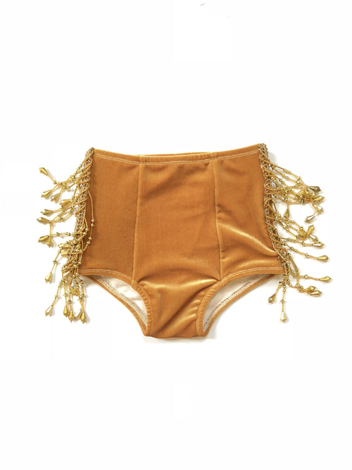 GOLD BEADED Velvet Hot Pants