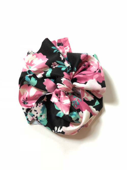 BLACK + PINK FLORAL Bow Wrap