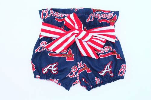 ATLANTA BRAVES MLB High Waisted Ruffle Shorts with Waist Sash