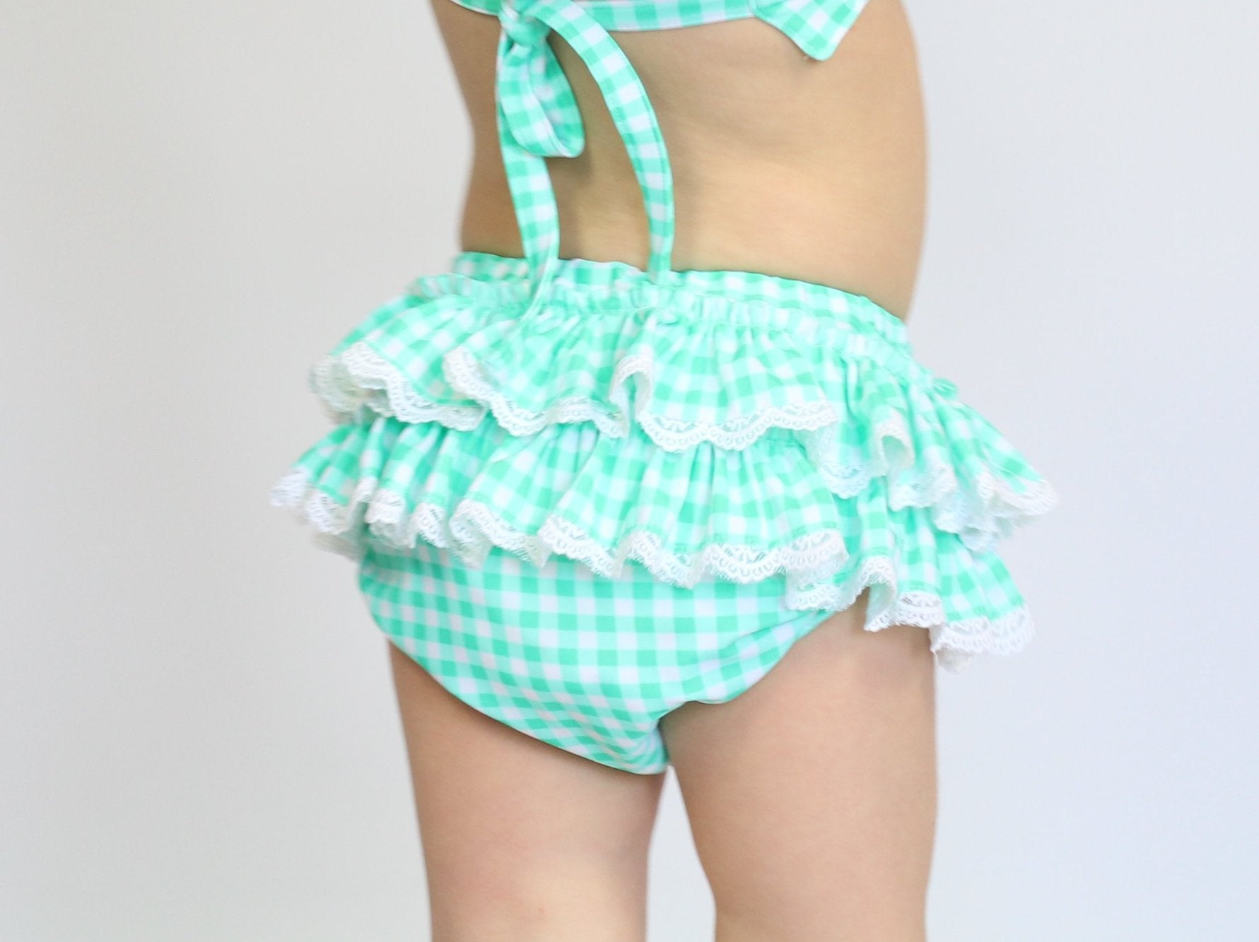 MINT GINGHAM Ruffle Butt Bikini Bottoms