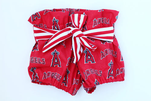 LOS ANGELES ANGELS MLB High Waisted Ruffle Shorts with Waist Sash