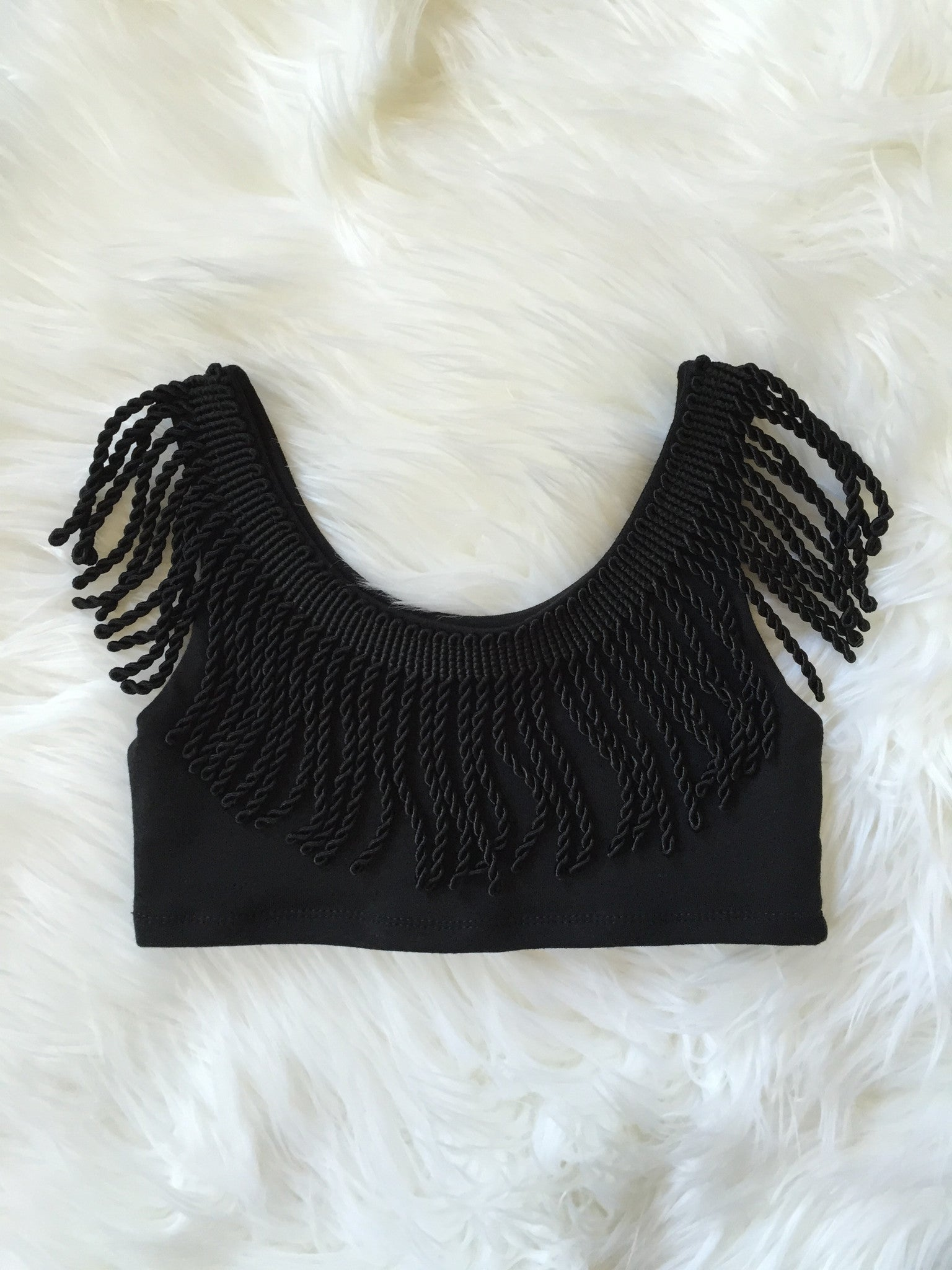 BLACK Neck Fringe Crop Tank Top