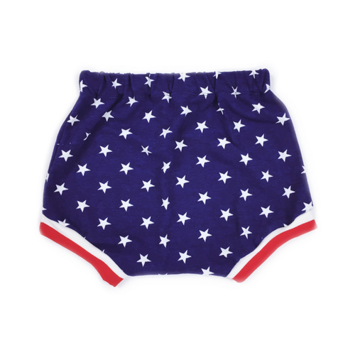PATRIOTIC Blue White Stars Baby Harem Shorts with Red & White Stripe Cuffs