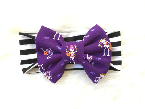 SKELETONS OUT TO PLAY Classic Bow Headband