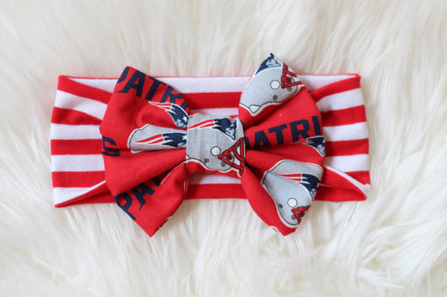 NE PATRIOTS NFL Football Classic Bow Headband