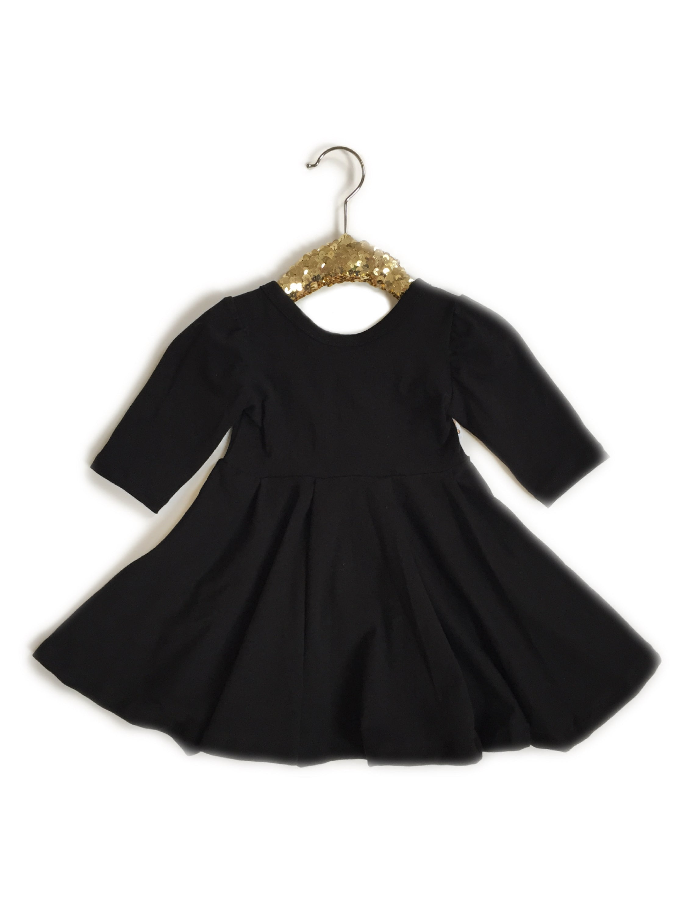 BLACK Twirl Dress (Choose from 3 Sleeve Options)