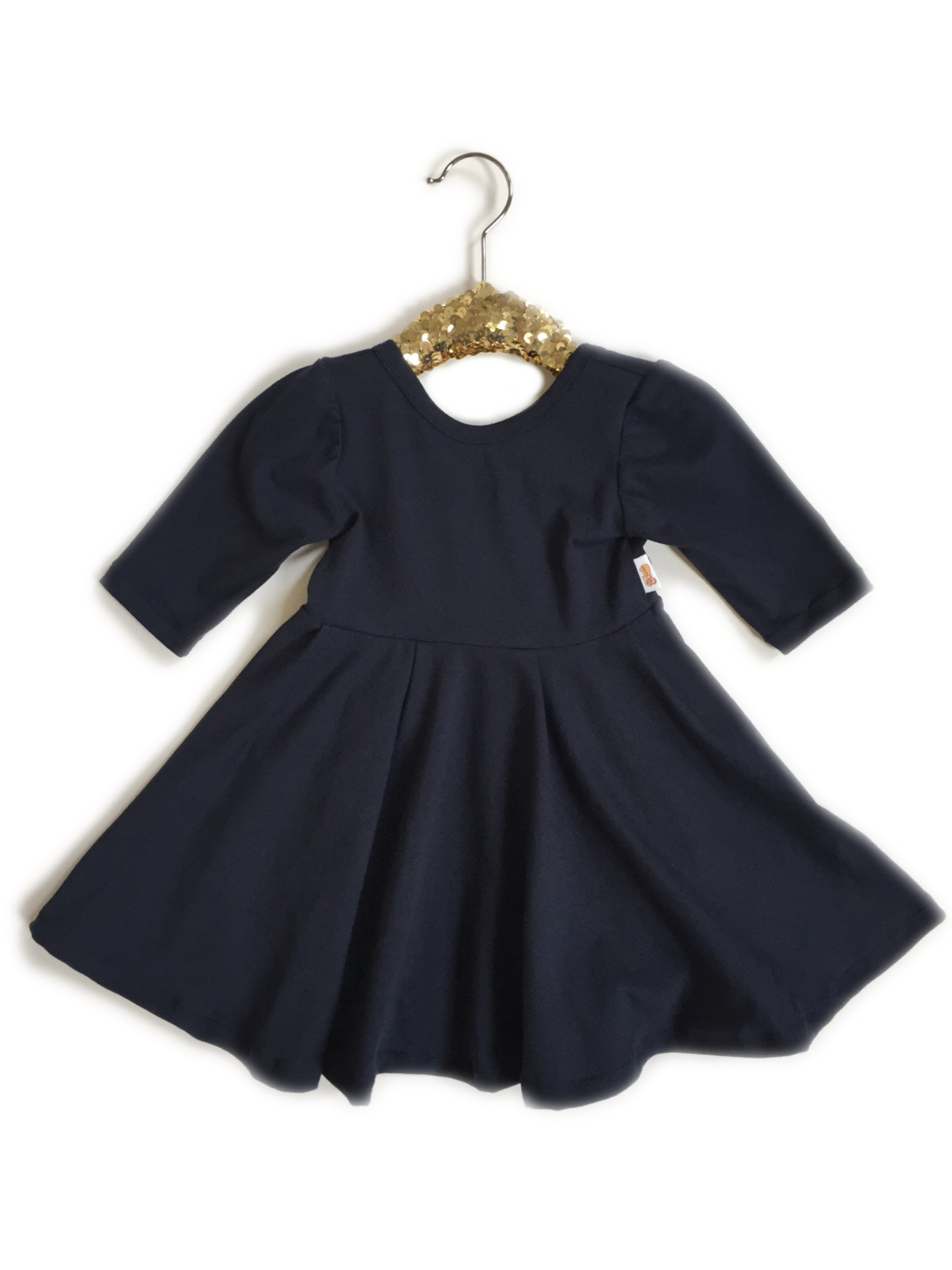 Navy Blue Twirl Dress (Choose from 3 Sleeve Options)