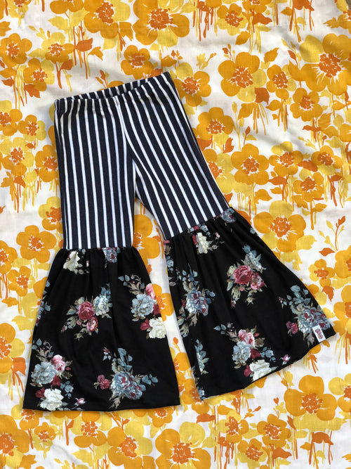 BLACK FLORAL & DENIM STRIPES Bell Bottom Flares