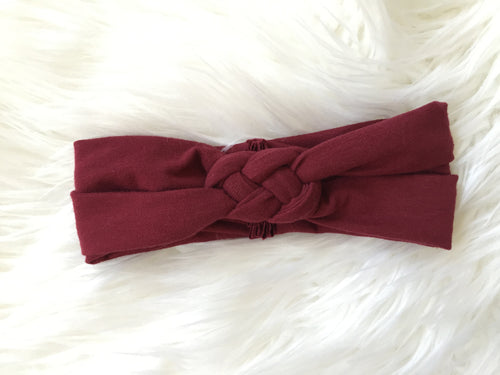 BURGUNDY Braided Headband