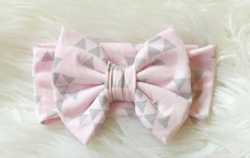 PINK & GRAY TRIANGLE Classic Bow Headband