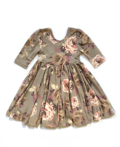 TAUPE FLORAL Twirl Dress