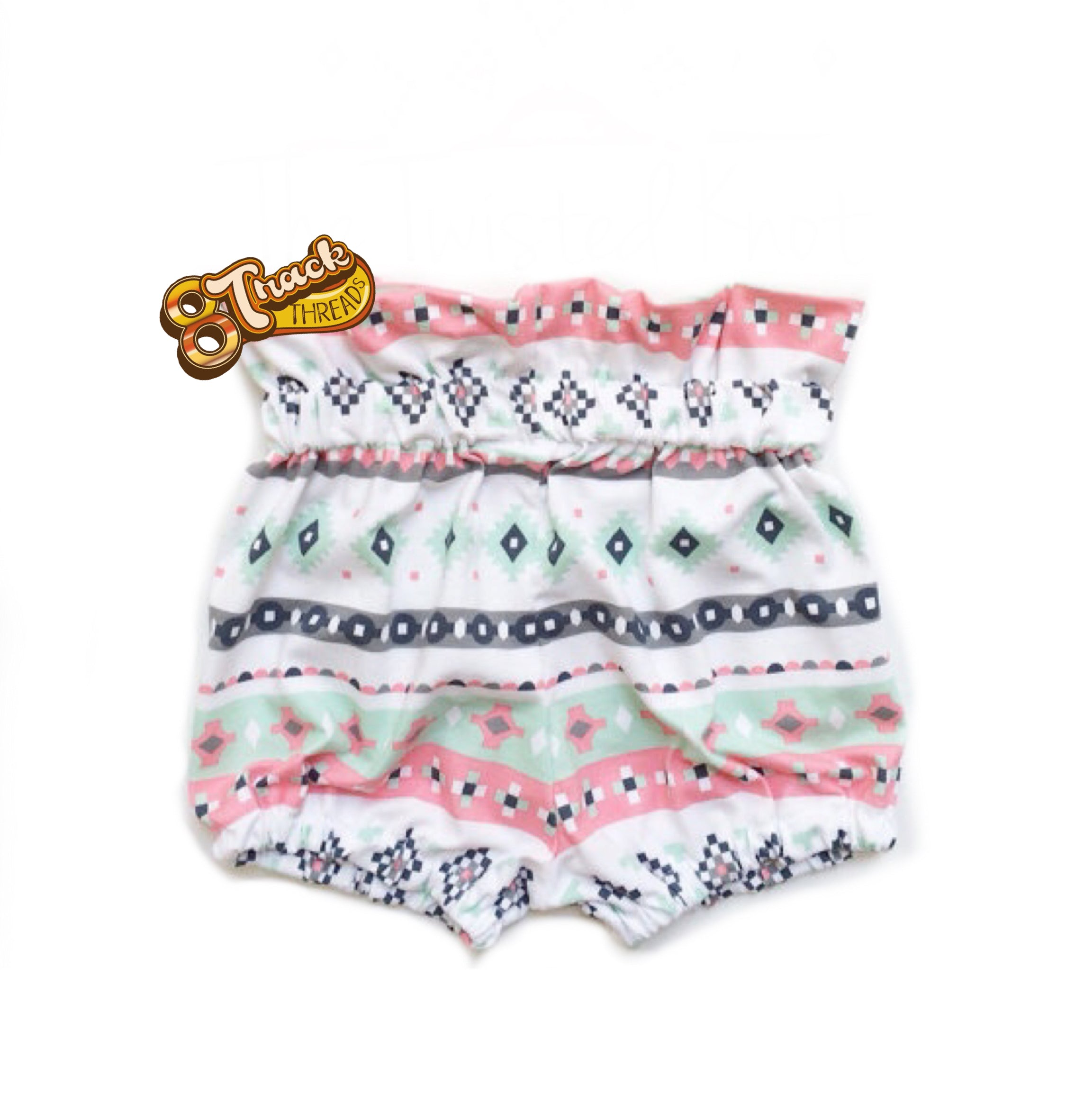 Peach Mint Tribal High Waisted Ruffle Bloomers Baby Shorts