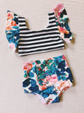 SAVAGE GARDEN Girls High Waisted Bikini Bottoms & Tankini Top