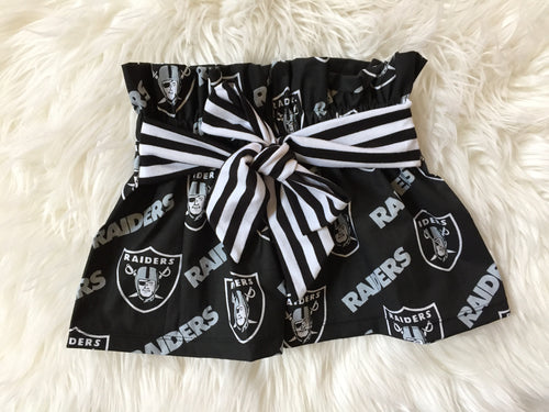 OAKLAND RAIDERS High Waisted Ruffle Skirt with Bow Sash