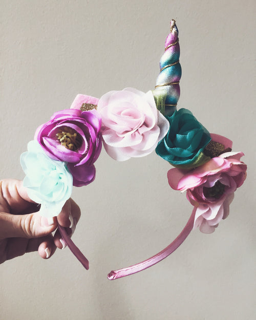 RAINBOW Unicorn Mini Flower Boho Headband