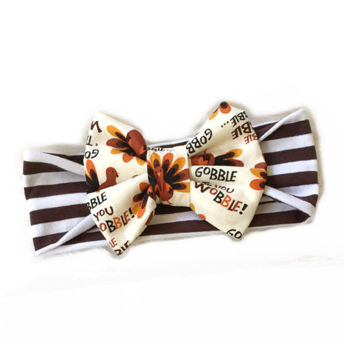 Gobble 'Till You Wobble Classic Bow on Brown & White Stripes Headband