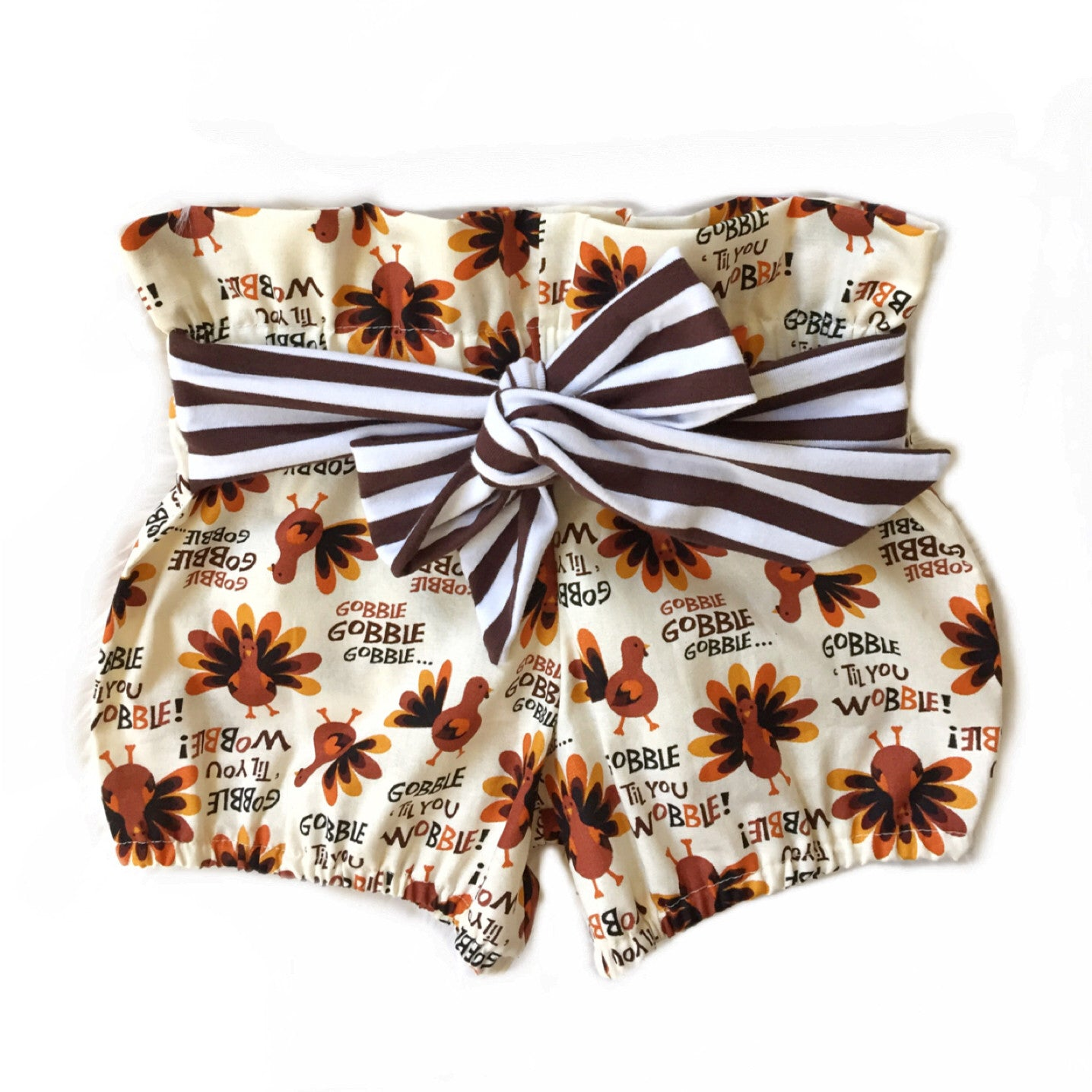 GOBBLE TILL YOU WOBBLE High Waisted Ruffle Shorts