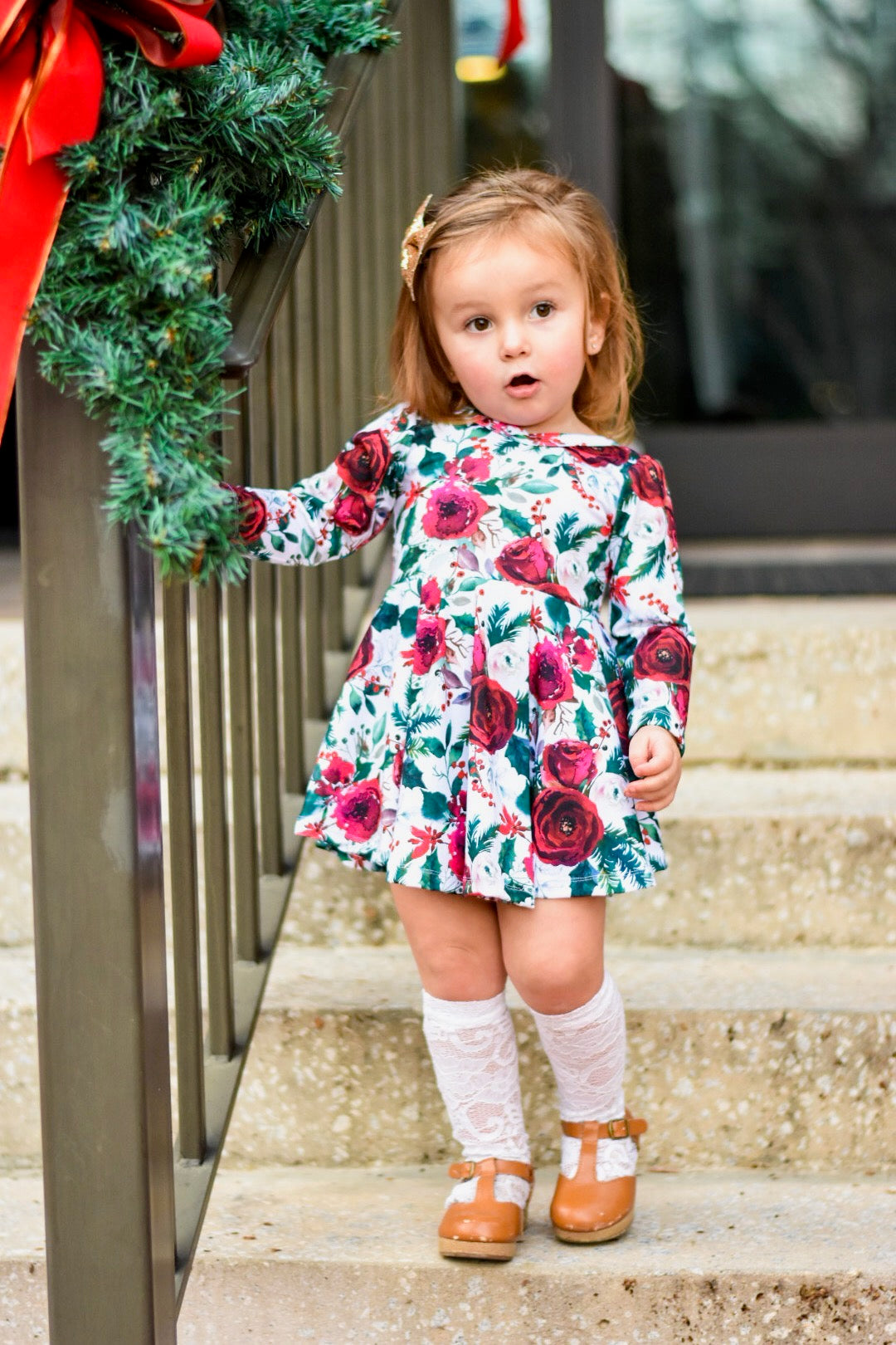 ENCHANTED CHRISTMAS FLORAL Twirl Dress