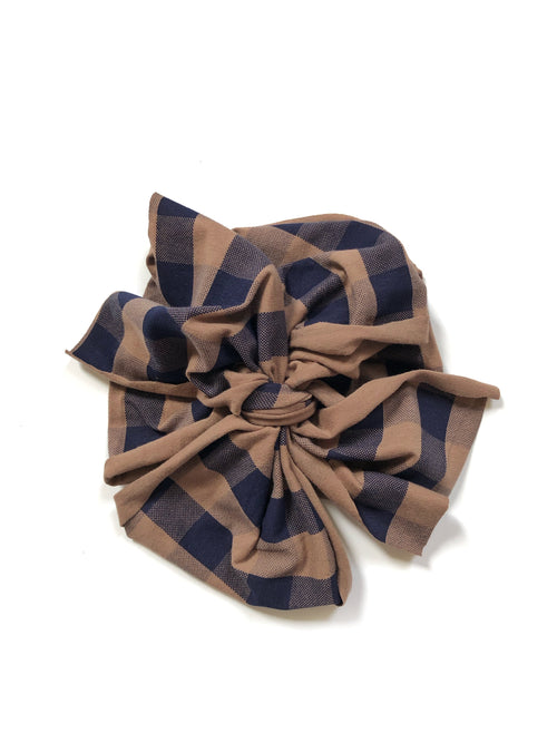 TAUPE BROWN + NAVY BUFFALO PLAID Bow Wrap