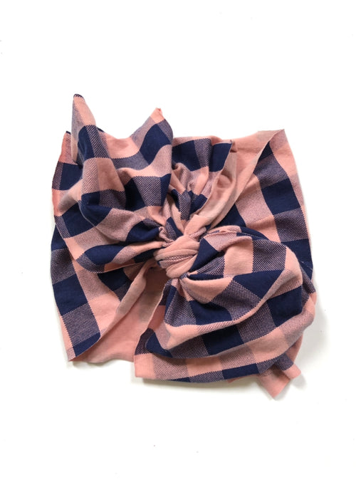 PINK + NAVY BUFFALO PLAID Bow Wrap