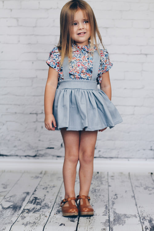ITALIAN Denim Suspender Skirt