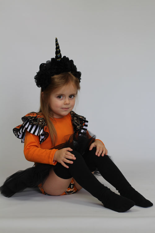 BLACK CATS & PUMPKINS Halloween Leotard