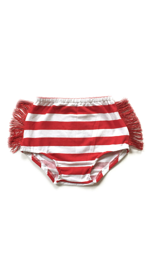 RED & WHITE STRIPES Fringe Bloomers