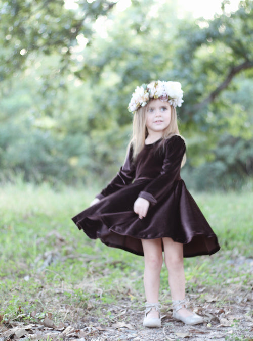 CHOCOLATE BROWN VELVET Twirl Dress