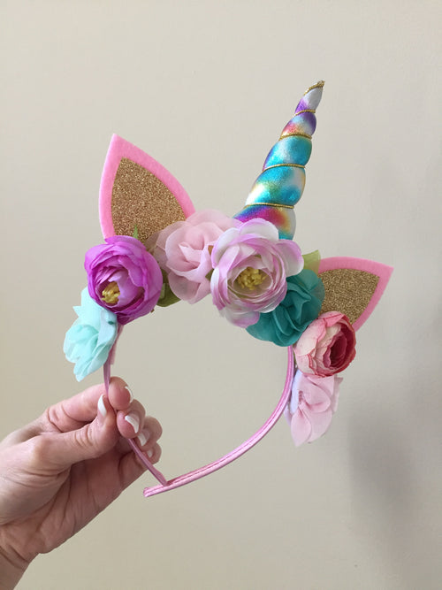 "5"" RAINBOW Unicorn Flower Boho Headband"